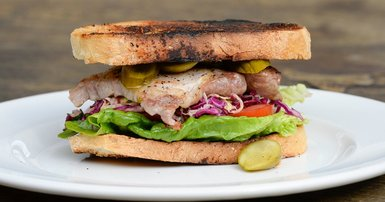 Pork steak sandwiches with pickles
