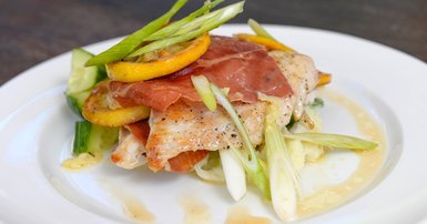 Chicken paillard with prosciutto