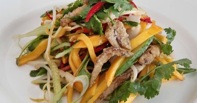 Green mango salad with crispy fried whitebait