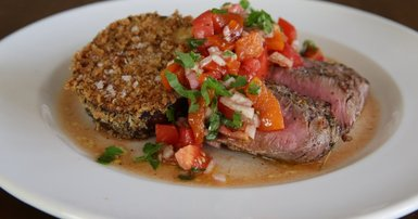Crumbed eggplant with tomato and red capsicum salsa & lamb