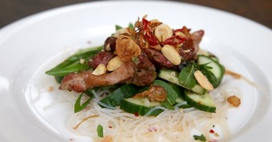 Chargrilled pork neck with vermicelli noodle salad